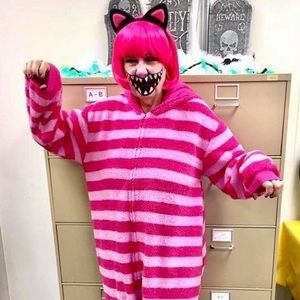 CHESHIRE CAT ONSIE SLIPPERS WIG EARS FACE TATTOO